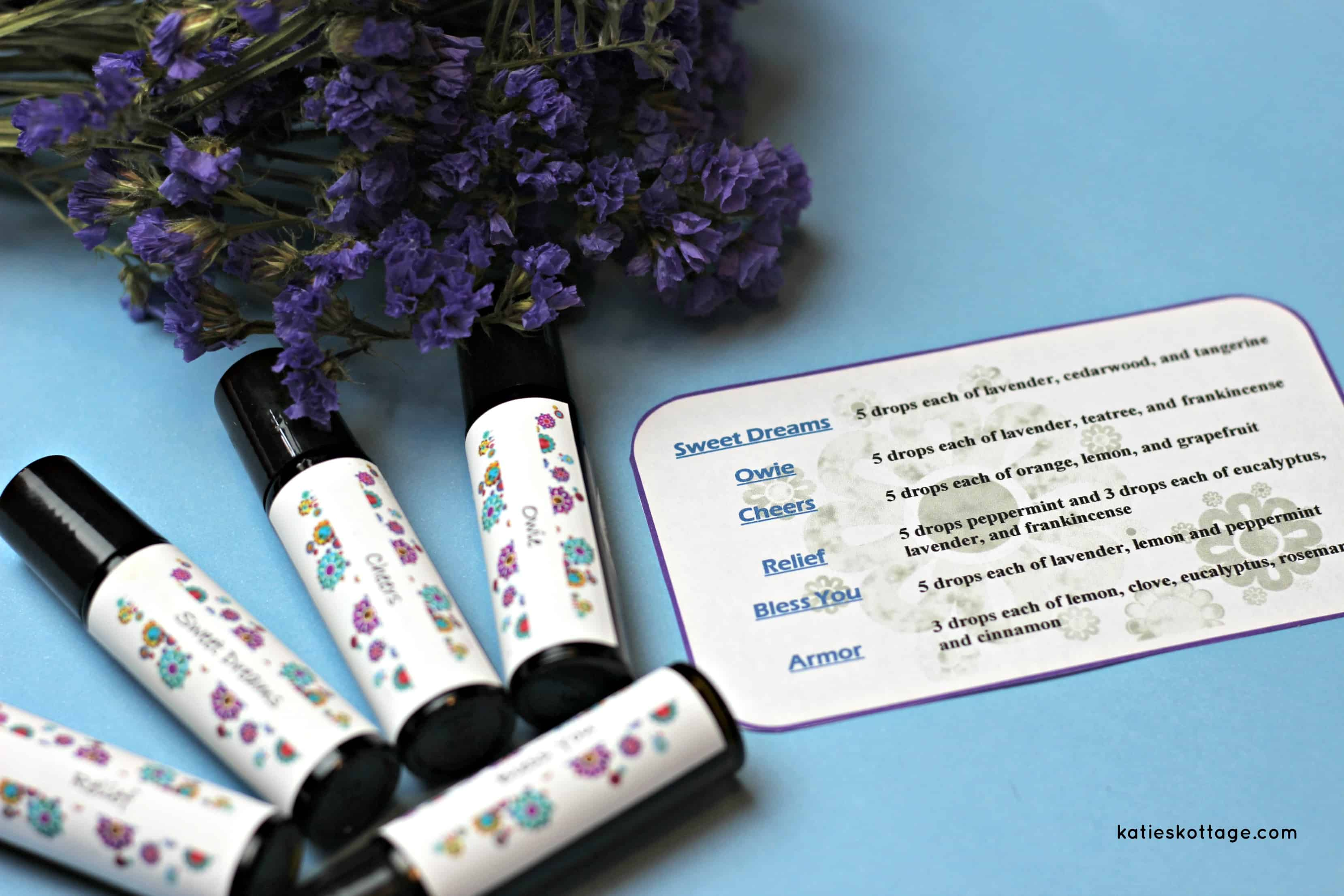 graphic relating to Printable Essential Oil Labels named Roller Bottle Recipes with Cost-free Printable Labels - KatiesKottage