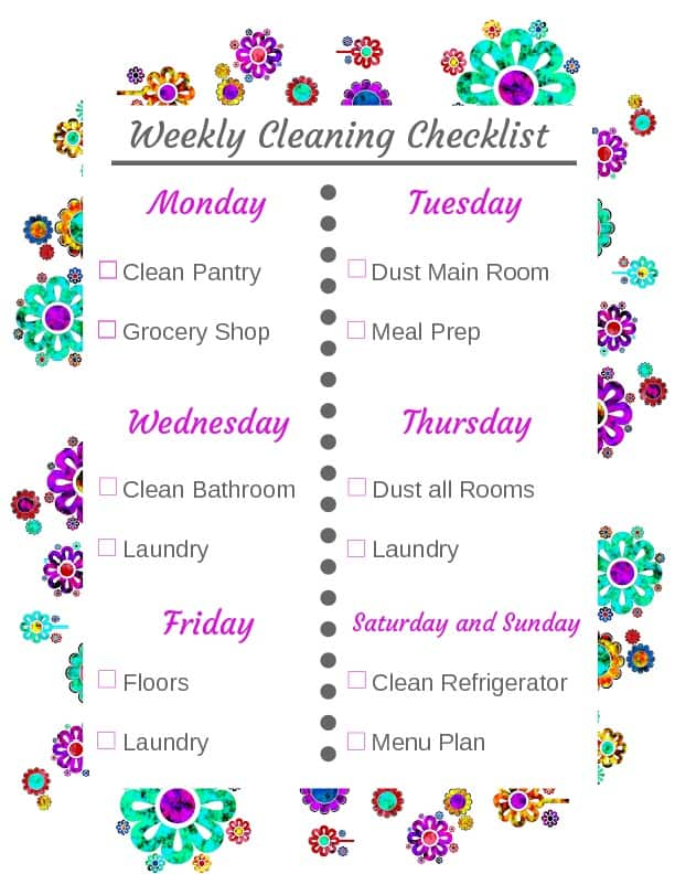 Weekly Cleaning Routine Checklist